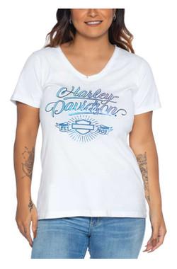 Harley-Davidson Women's Appreciate Notched V-Neck Poly-Blend Short Sleeve Tee - Wisconsin Harley-Davidson