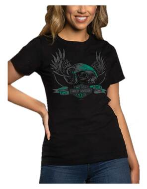 Harley-Davidson Women's Skull Medley Crew-Neck Short Sleeve Tee, Black Acid Wash - Wisconsin Harley-Davidson
