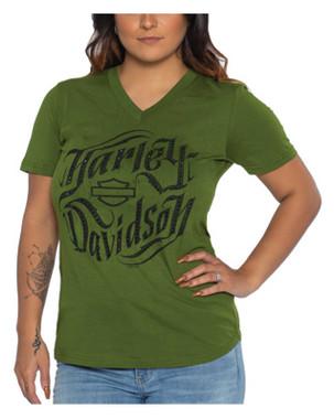 Harley-Davidson Women's Jagged Tri-Blend Short Sleeve V-Neck Tee, Military Green - Wisconsin Harley-Davidson