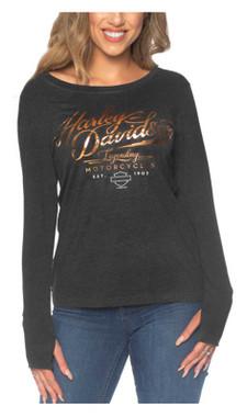 Harley-Davidson Women's Foiled H-D Long Sleeve Poly-Blend Shirt, Black - Wisconsin Harley-Davidson