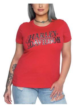 Harley-Davidson Women's Foiled Jubilee Crew-Neck Short Sleeve Poly-Blend Tee - Wisconsin Harley-Davidson
