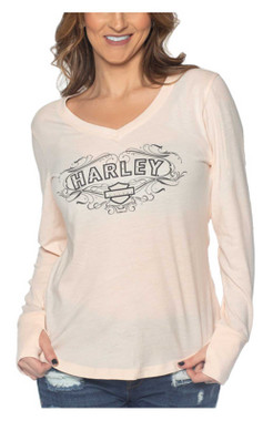 Harley-Davidson Women's Fancy Bling Long Sleeve Poly-Blend Shirt - Blush Pink - Wisconsin Harley-Davidson