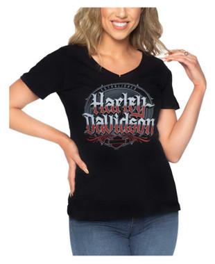 Harley-Davidson Women's Literary Short Sleeve V-Neck Poly-Blend T-Shirt, Black - Wisconsin Harley-Davidson