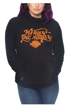 Harley-Davidson Womens Swirly Type Pullover Funnel Neck Long Sleeve Shirt, Black - Wisconsin Harley-Davidson