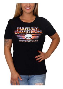Harley-Davidson Women's Willie G Skull Crew-Neck Short Sleeve Tee - Black - Wisconsin Harley-Davidson