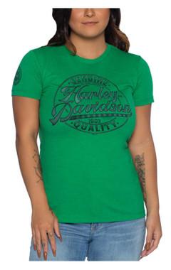 Harley-Davidson Women's Full Count Scoop Neck Short Sleeve Slim T-Shirt, Green - Wisconsin Harley-Davidson