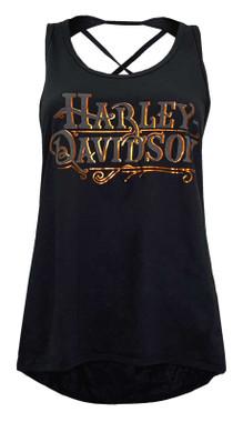 Harley-Davidson Women's Foiled H-D Sleeveless High-Low Hem Tank Top - Black - Wisconsin Harley-Davidson