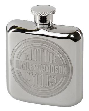 Harley-Davidson Engraved Circle H-D Logo Stainless Steel Hip Flask - Silver - Wisconsin Harley-Davidson