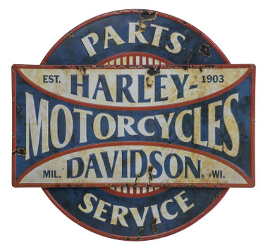 Harley-Davidson Parts & Service Two-Tired Distressed Metal Wall Art Sign - Blue - Wisconsin Harley-Davidson