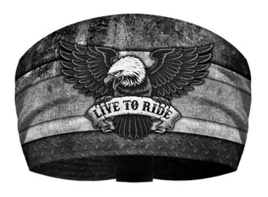 That's A Wrap Unisex Live to Ride Eagle Knotty Band Headwrap - Black/Gray - Wisconsin Harley-Davidson