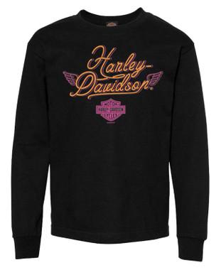 Harley-Davidson Girl's Little Neon Long Sleeve Cotton Toddler Shirt - Black - Wisconsin Harley-Davidson