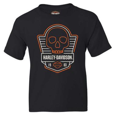 Harley-Davidson Boy's Speed Skull Short Sleeve Cotton Youth T-Shirt - Black - Wisconsin Harley-Davidson