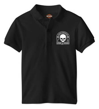 Harley-Davidson Boy's Skull Patch Short Sleeve Cotton Toddler Polo Shirt, Black - Wisconsin Harley-Davidson