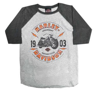 Harley-Davidson Boy's Reboot Long Sleeve Raglan Poly-Blend Toddler/Youth Tee - Wisconsin Harley-Davidson