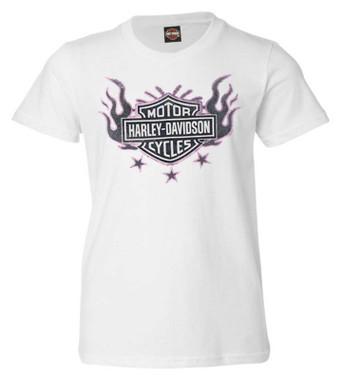 Harley-Davidson Girl's Flames B&S Short Sleeve Cotton Toddler Tee - White - Wisconsin Harley-Davidson