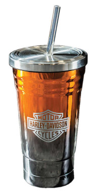Harley-Davidson Electroplate B&S Metallic Insulated Tumbler w/ Straw - 20 oz. - Wisconsin Harley-Davidson
