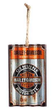 Harley-Davidson Genuine Oil Bar & Shield Corrugated Metal Hanging Ornament - Wisconsin Harley-Davidson