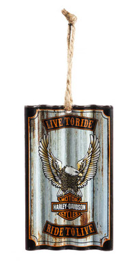 Harley-Davidson Up-Winged Eagle Corrugated Metal Hanging Ornament - Silver - Wisconsin Harley-Davidson