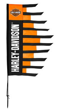 Harley-Davidson Bar & Shield Spirit Banner Flag w/ Ground Stake - Orange/Black - Wisconsin Harley-Davidson