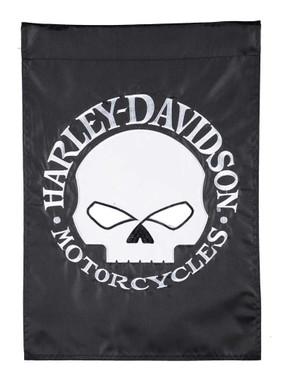 Harley-Davidson Willie G Skull Two-Sided Applique Garden Flag - Black & White - Wisconsin Harley-Davidson