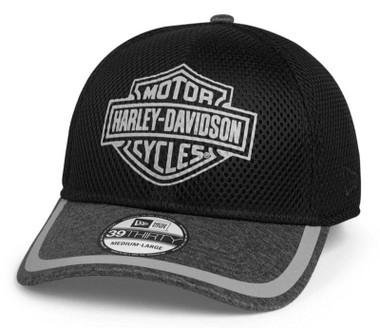 Harley-Davidson Men's Bar & Shield Mesh 39THIRTY Baseball Cap, Black 97704-21VM - Wisconsin Harley-Davidson