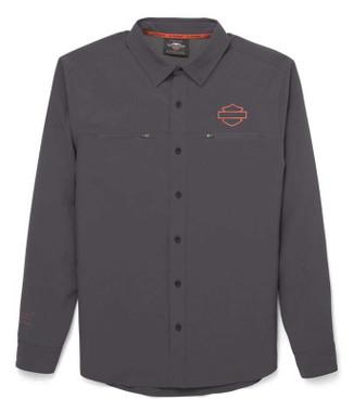 Harley-Davidson Men's Performance Mesh Inset Long Sleeve Shirt, Gray 96036-22VM - Wisconsin Harley-Davidson