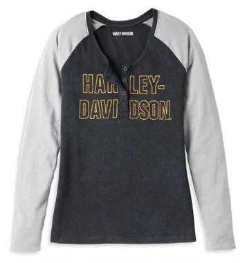 Harley-Davidson Women's Bar Font Raglan Long Sleeve Henley Shirt 96087-22VW - Wisconsin Harley-Davidson