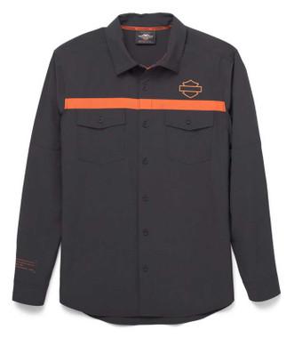 Harley-Davidson Men's Performance Mesh Inset Long Sleeve Shirt, Black 96034-22VM - Wisconsin Harley-Davidson