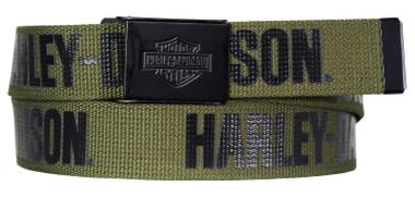 Harley-Davidson Men's Fasten Up Adjustable Slide Buckle Cotton Belt - Army Green - Wisconsin Harley-Davidson