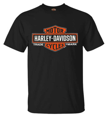 Harley-Davidson Men's Elongated Orange Bar & Shield Black T-Shirt 30290285 - Wisconsin Harley-Davidson