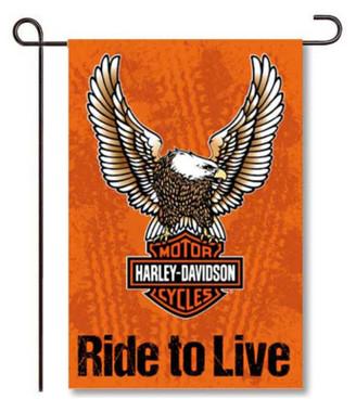 Harley-Davidson Eagle B&S Double Sided Suede Garden Flag - Black & Orange - Wisconsin Harley-Davidson