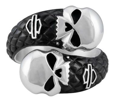 Harley-Davidson Men's Double Willie G Skull B&S Stainless Steel Metal Ring - Wisconsin Harley-Davidson