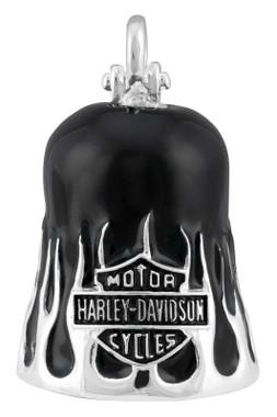 Harley-Davidson Textured Flames Bar & Shield Ride Bell - Silver & Black Finish - Wisconsin Harley-Davidson