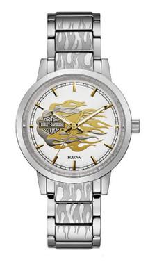 Harley-Davidson Women's Bar & Shield Flames Stainless Steel Watch- Silver 76L191 - Wisconsin Harley-Davidson