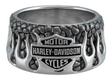 Harley-Davidson Men's Textured Flames Bar & Shield Stainless Steel Metal Ring - Wisconsin Harley-Davidson