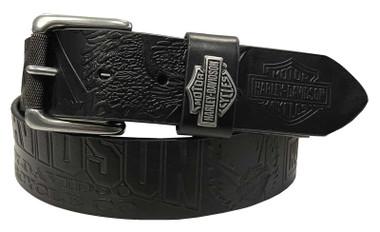Harley-Davidson Men's Scorching Genuine Black Leather Belt - Gunmetal Finish - Wisconsin Harley-Davidson