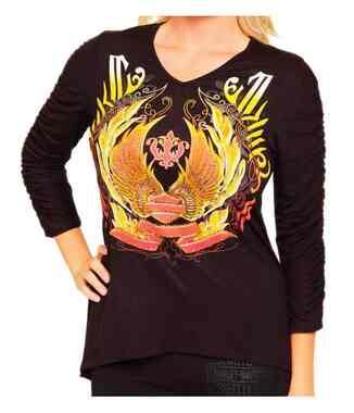 Harley-Davidson Women's Embellished Flame On 3/4 Sleeve V-Neck Shirt, Black - Wisconsin Harley-Davidson