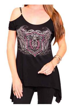 Harley-Davidson Women's Embellished Open Shoulder Short Sleeve Tee, Black - Wisconsin Harley-Davidson