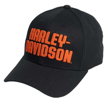 Harley-Davidson Men's Chain Stitch Curved Bill Stretch Fit Baseball Cap - Black - Wisconsin Harley-Davidson