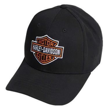 Harley-Davidson Men's Classic B&S Curved Bill Stretch Fit Baseball Cap - Black - Wisconsin Harley-Davidson