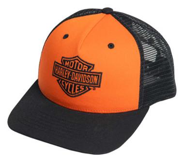 Harley-Davidson Men's Classic B&S Snapback Two-Tone Trucker Cap - Orange/Black - Wisconsin Harley-Davidson