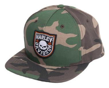 Harley-Davidson Men's Shield Skull Camo Print Snapback Flat Brim Baseball Cap - Wisconsin Harley-Davidson