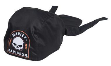 Harley-Davidson Men's Skull Shield Polyester One Size Headwrap - Solid Black - Wisconsin Harley-Davidson