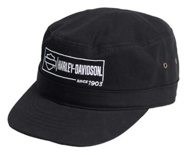Harley-Davidson Men's Label Lockup Adjustable Closure Twill Painter's Hat- Black - Wisconsin Harley-Davidson