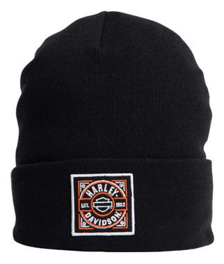 Harley-Davidson Men's H-D Label Patch Embroidered Cuffed Beanie Hat - Black - Wisconsin Harley-Davidson