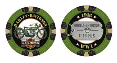Harley-Davidson Military Series Bravo 2 1918 FUS Collectible Poker Chips 6742 - Wisconsin Harley-Davidson
