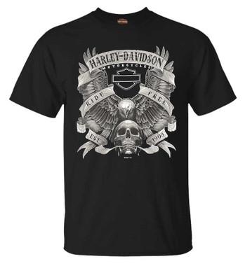 Harley-Davidson Men's Fastened Poly-Blend Short Sleeve Crew-Neck T-Shirt, Black - Wisconsin Harley-Davidson
