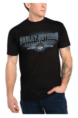 Harley-Davidson Men's Slasher Skull Short Sleeve Crew-Neck T-Shirt - Black - Wisconsin Harley-Davidson