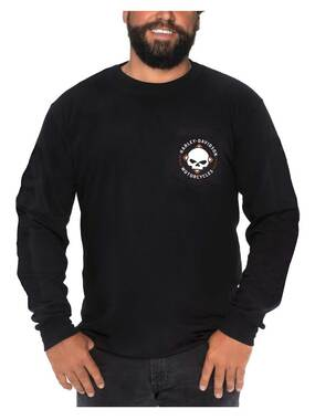 Harley-Davidson Men's Road Badge Long Sleeve Chest Pocket Cotton Shirt - Black - Wisconsin Harley-Davidson