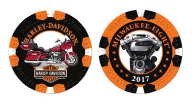 Harley-Davidson Limited Edition Series 10 Poker Chips Pack, Black & Orange 6710 - Wisconsin Harley-Davidson